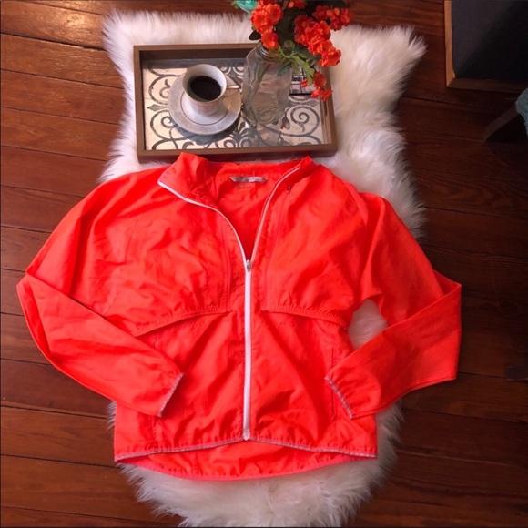 Athleta Jackets & Blazers - Athleta Orange neon running convertible jacket m